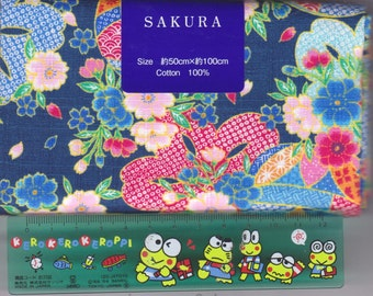 Blue Cherry Blossom Material - 100% Cotton - 50cm x 100cm (19.7 x 39.4 inches) - Reference L4