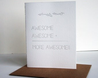 Letterpress Congratulations Card - Simple Math - More Awesome