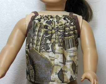 BK Taupe, Brown, Black, Gold Strappy Top - 18 Inch Doll Clothes fits American Girl