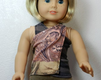 BK Taupe, Brown, and Mauve Pink Print Front Wrap Halter Top - 18 Inch Doll Clothes fits American Girl