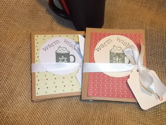 6 Hot Cocoa Christmas Pocket Card Gift  Favor - Polka Dot