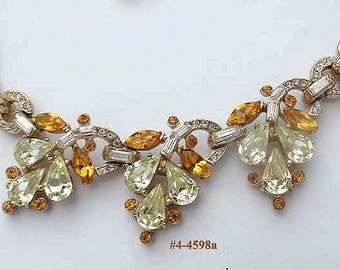 FREE SHIP Necklace Dazzling Rhinestones In Amber and Clear (4-4598)
