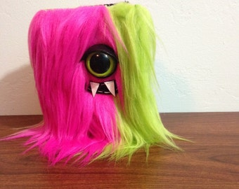 Pink & Green Cyclops Striped Mini-Monster Journal- One Green Eye