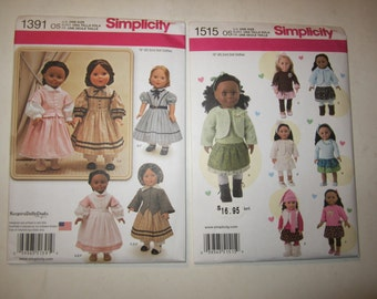 """2 New American Girl doll SIMPLICITY Clothes patterns 1391 & 1515 OS 18"""" Dolls"""