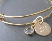 Hand Stamped Bangle Bracelet - Gold  Mothers Jewelry - Personalized Bracelet - Gold Bangle Bracelet - Initial Bangle - Mother's Gift