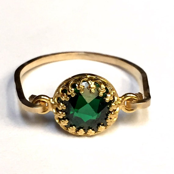 emerald cubic zirconia ring emerald ring 14k gold filled