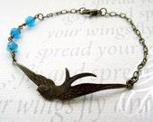 Bird bracelet, bronze bird bracelet, blue beaded bracelet
