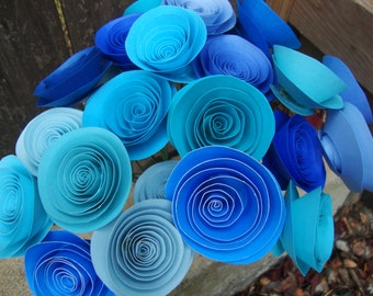 I'm Blue For You rolled paper flower bouquet of 24
