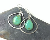picasso turquoise. hammered sterling silver. onion hoops.