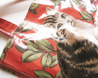 Pretty and practical 1970s Ulster cotton PVC kitty cat green leaf pattern red tote bag