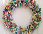 happy scrappy rag wreath - OOAK - fabric - handmade - summer wreath - spring wreath - 18 inch front door wreath