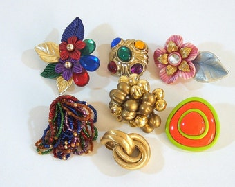 Vintage Jewelry Findings For Crafters, Clip On Earrings, Singletons