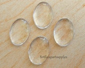 10 Pcs 18x13MM Oval Clear Glass  Dome  Cabs Tiles