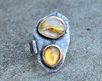 Rose Cut Citrine Ring - Rose Cut Gold Rutilated Quartz - Double Gem Ring - 2 Stone Ring - Rustic Silver - Textured Silver Ring - 18 KT Gold