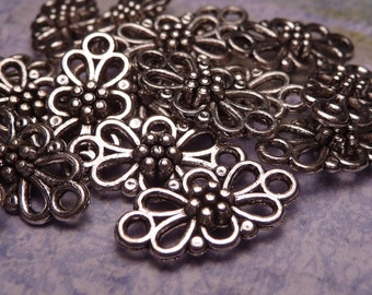 Silver Flower Connector Bead 15x8mm - 10pc