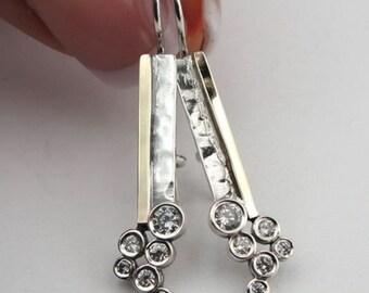 925 Sterling Silver &  9K Yellow Gold Silver CZ Long Earrings (ms e1248)