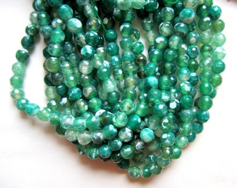 8mm Fire Agate beads green 45 gemstone beads faceted  Madagascar jewelry supply L084-43 strand 15 inches