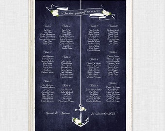 nautical wedding seating chart anchors away reception seating plan printable faux chalkboard roses floral sea beach alphabetical or by table