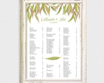 gum leaf printable wedding seating chart by table or alphabetical customised seating plan reception forest trees outdoor table plan leaves
