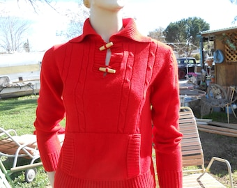 Red Knit 60's-70's Pullover Sweater w/Front Pouch - Size S