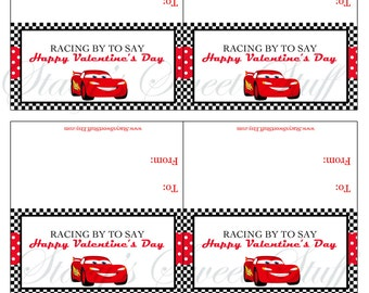 Cars Valentine Bag Topper - DIY Printable - INSTANT DOWNLOAD