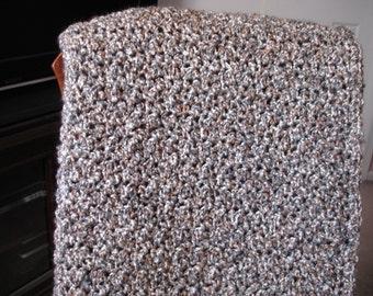Gray/Tan/White Afghan Throw Blanket