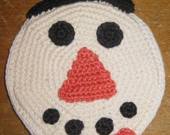 Mid Century Crocheted Snowman Potholder