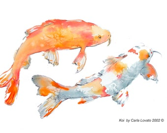 Koi painting, Original Painting, koi watercolor, Original Watercolor, 14 x 20 inches, wildlife painting, garden painting, fish painting