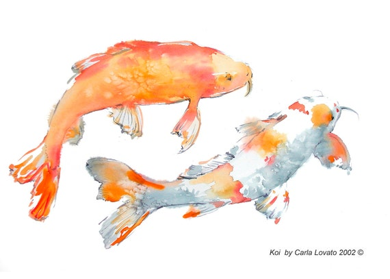 Koi painting original painting koi watercolor original for Original koi fish