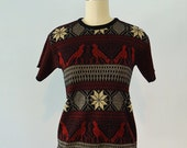 70s Tribal sweater top with BIRDS size small