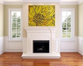24 x 36  Yellow Peony (canvas painting)