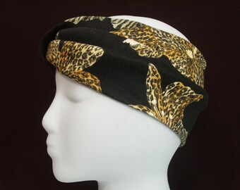 Tiger Lilies and Leopard Blooms Animal Print Flower Turban Headband / Hair Bands / Wide Turband Boho Jersey Stretch Ruched with Fabric Wrap