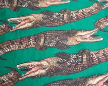 Vintage Fabric - Joe Boxer Crocodiles on Green - By the Yard