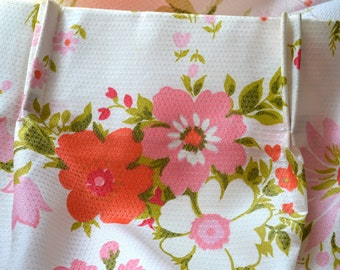 Vintage Curtain Panel - Pink and Orange Flowers on White - Large Panel - 74 x 90