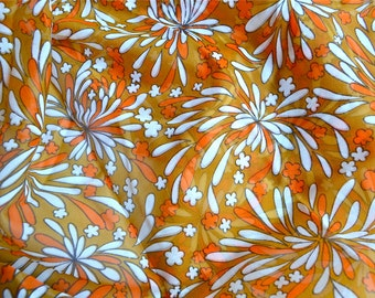 Vintage Fabric - Orange Mid Century Floral Sheer Scarf Fabric - 44 x 59