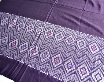 Vintage Embroidered Fabric - 35 x 43 - Woven Textile in Eggplant