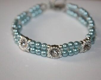 Crystal Blue Swavorski Pearl Bracelet