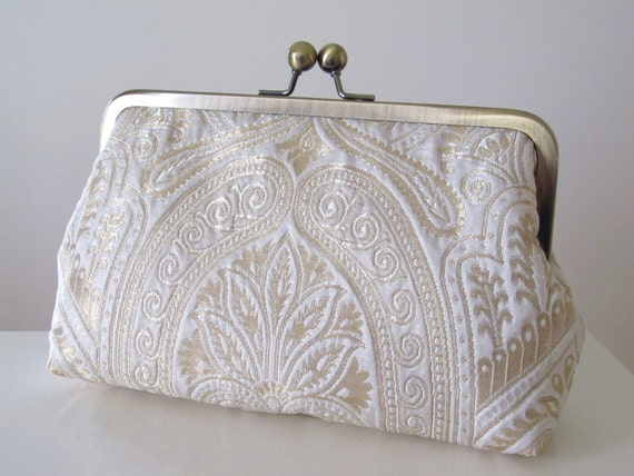 White Gold Silk Brocade Clutch,Bridal Accessories,Bridal Clutch,Wedding Clutch,Bridesmaid Clutch,Bridesmaid Gift
