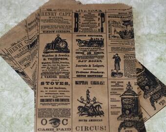 25 Newspaper Print Bags Kraft Paper Bags Vintage Newsprint  Merchandise Bags Packaging Wedding Favor Bags Kraft Bags Treat Bags Gift Bags