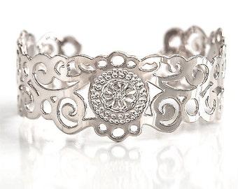 Silver cuff, Silver bracelet, Silver jewelry, dainty Silver bracelet, delicate Silver cuff, thin Silver bracelet