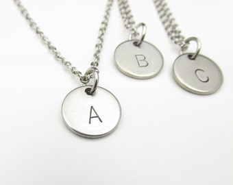 Initial Necklace (Y001). Personalized Initial Charm in Stainless Steel. Custom Stamped Monogram Necklace. Initial Letter