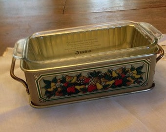 Vintage Pyrex Casserole Dish And Metal Holder Etsy