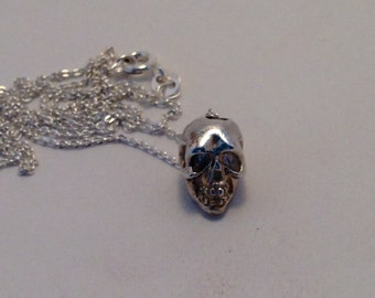 Solid Sterling Silver Skull Bead Charm Necklace New Handmade