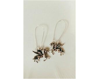 silver pegasus earrings- silver pegasus greek mythology charm dangle earrings