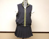Vintage Blue polka dot tennis outfit - tennis skirt and sleeveless top size small