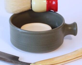 Ceramic Shaving Mug / Ridges for a Good Lather / Comfortable Handle / Grey Matte Shaving Mug / Made to Order