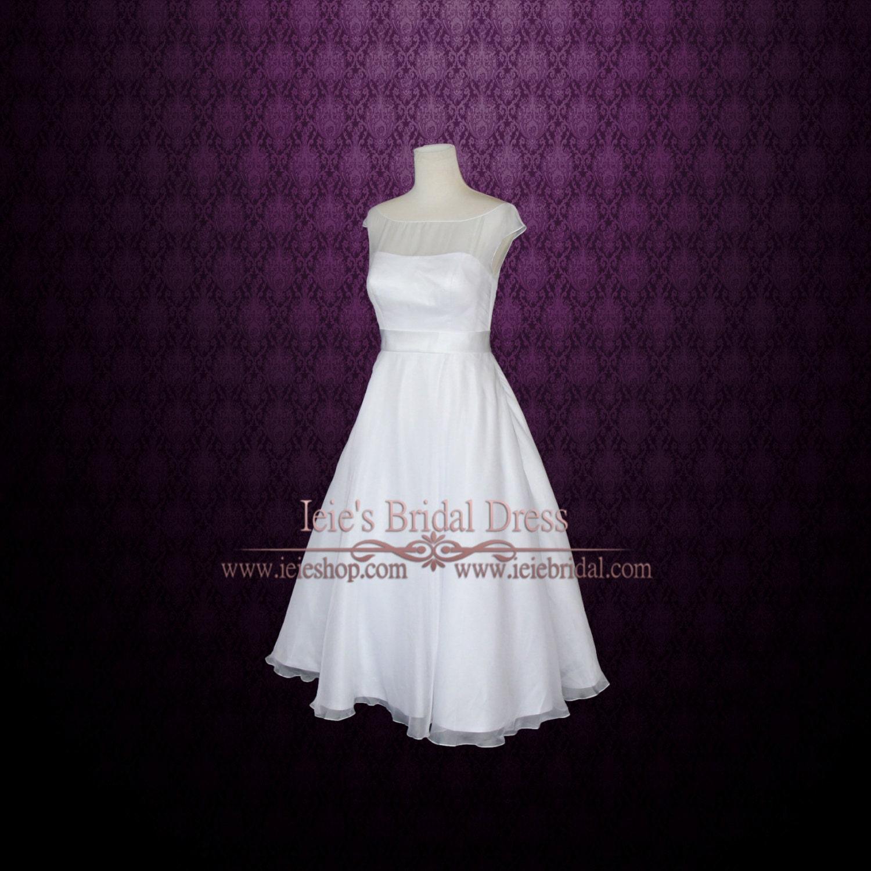 Simple Elegant Tea Length Chiffon Cap Sleeve Wedding: Simple Yet Elegant Modest Retro 50s Tea Length White Wedding