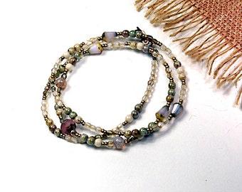 Champagne Sherbert, Spring Wrap Bracelet, Bridesmaid, Beaded Glass Necklace, Boho Wrap Bracelet cbwsn26