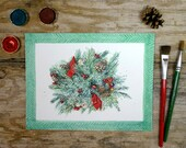 Christmas Watercolor Painting- Holiday Art- Christmas Decor- Greenery, Red Bows, Pine Cones- 7x9