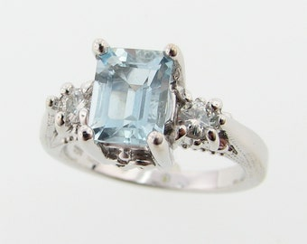 Sterling Silver Old Paris Ring, Aquamarine and Moissanite